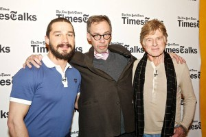Shia LaBEouf, David CArr, Robert Redford,  photo ©Matthew Arnold
