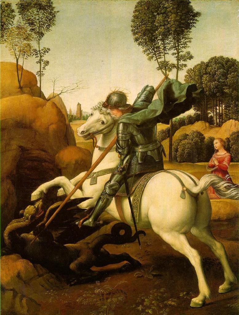 Sveti Đorđe i zmaj, Rafaelo Santi, 1504-1506. NAcionalna galerija Vašington