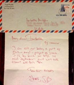 Joseph Brodsky Letter to Isabel Bau Madden