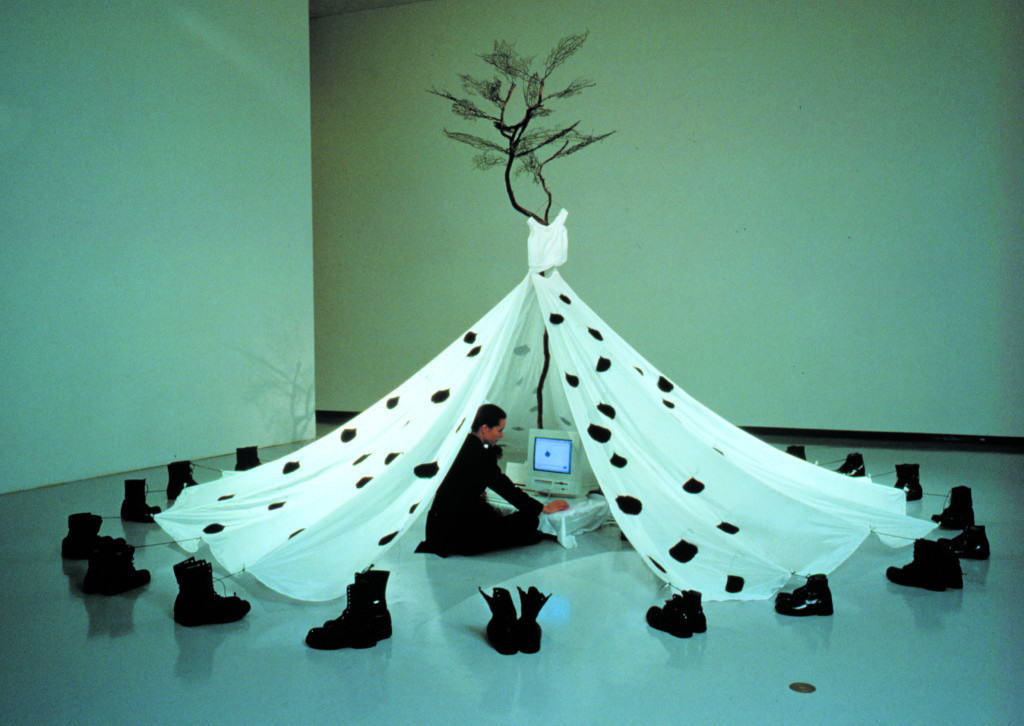 A-Dress  (1995–99: Winnipeg Art Gallery, Canada / Arco Electronico, Madrid / Kunsthaus, Hamburg / Clifford Smith Gallery, Boston / Kampnagel Hamburg) For 97 days Regina Frank wrote and sent by e-mail letters to her own ad-dress. Those letters were printed and affixed inside of the dress corresponding to each ink-dyed leaf on the outside. What if internet information was wilting....