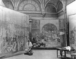 Alfons Muha u toku rada na Slovenskoj epopeji, 1920.