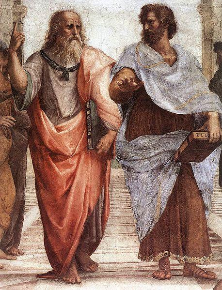 Rafaelo Santi, Atinska škola, detalj, Leonardo i Mikelanđelo predstavljeno kao Platon i Aristotel, 1509, Vatikan