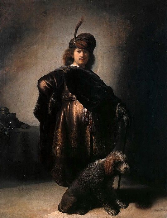 Umetnik u orijentalnom kostimu sa pudlom
