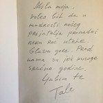 Kiš's Gorak Talog Iskustva, published in 1990, a gift from the actor Josif Tatić dedicated to Isabel