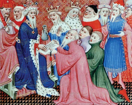 Marko Polo, otac i stric  kod Kublaj-kana,  rukopis iz 14. veka,