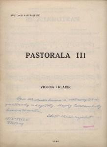 Svetomir NAstasijević, Pastorale