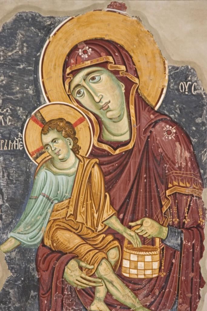 Freska Bogorodica Ljeviška, Bogorodica Eleuza sa Hristom Hraniteljem, foto Dragan Bosnić
