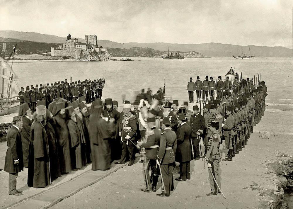 Doček kralja Srbije Petra I Karađorđevićća na hinandarskom pristaništu, 29. mart 1910.