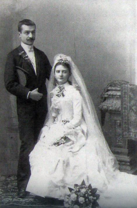 Milan Jovanović sa suprugom Darinkom, na dan venčanja 1889, foto Milan Jovanović