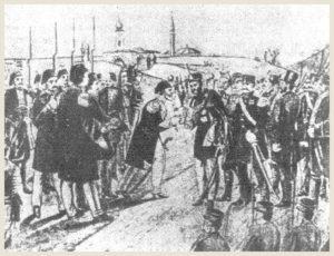 Turski paša predaje ključeve Beograda, crtež Adama Stefanovića