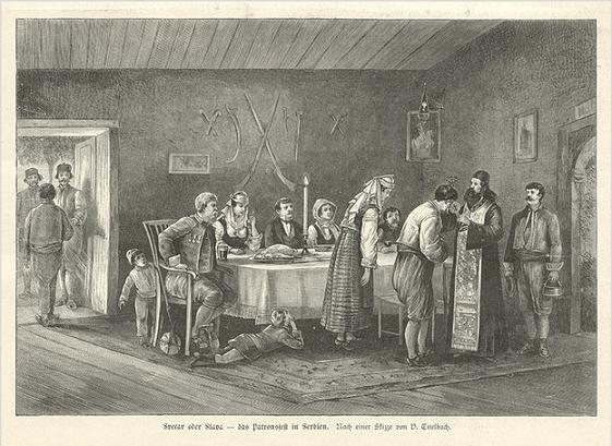 Krsna slava u Srbiji, gravura iz 1885.