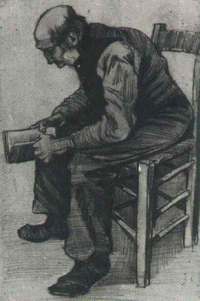 Vinsent van Gog: Čovek kji čita, 1882, public domain, Kröller-Müller Museum, Otterlo