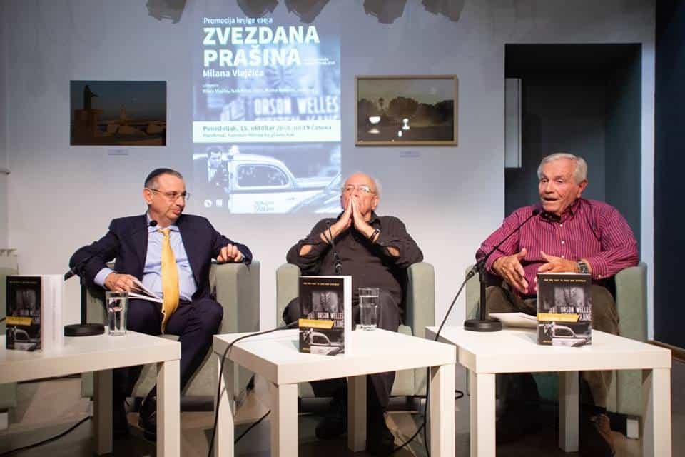 Promocija knjige ZVEZDDANA PRAŠINA; učesnici: Isak Asiel, Milan Vlajčić i Ratko Božović, PAROBROD, foto: Parobrod