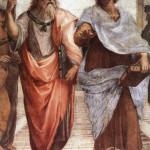Platon i Aristotel, detalj sa slike: Rafaelo Santi, Atinska škola 1510-1511, detalj, Stanza della Signatura, Vatikan
