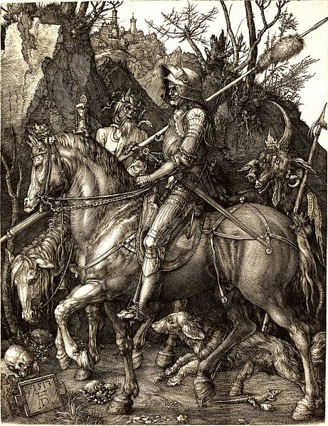 Albreht Direr: Vitez, Smrt i Đavo, 1513, duborez, Nacionalna galerija,