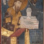 Ktitorska freska, Dečani, na kojoj je prikazan kralj Stean Dečanski sa maketom crkve